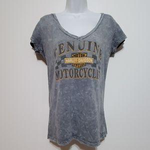 Harley Davidson grey tye dye distressed L tshirt